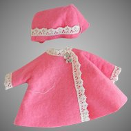 "Hot Pink Felt 8"" Vogue Coat and Hat"
