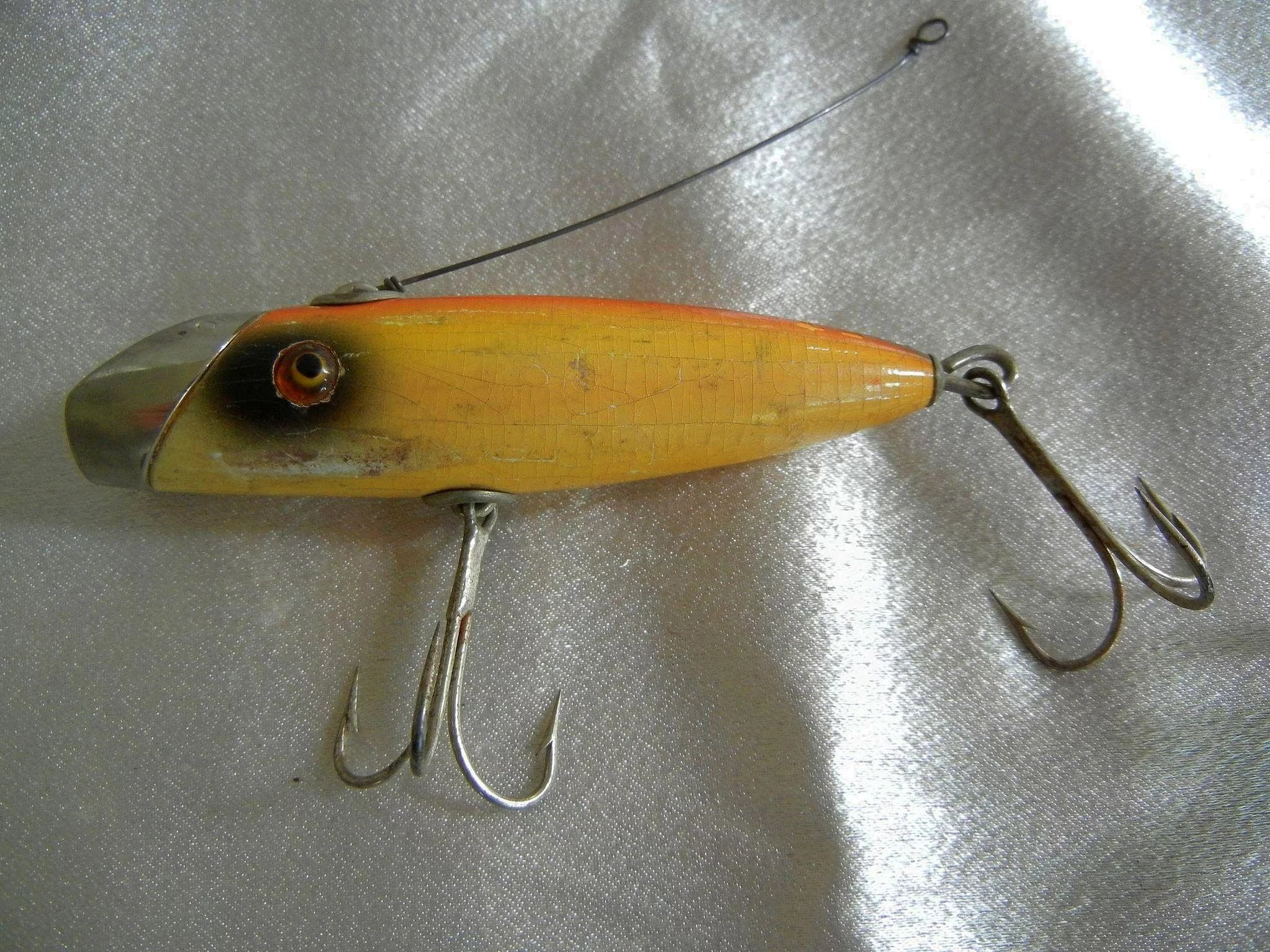 Vintage Wooden Fishing Lure With Glass Eyes