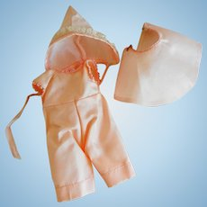 """Vintage 3 Piece Pink Satin 8"""" Doll Outfit"""