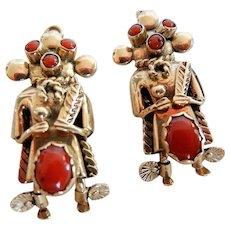 Vintage Signed Navajo 14 K Kachina Earrings