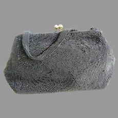 Vintage Walborg Black Beaded Handbag