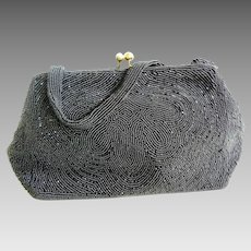Vintage Walborg Black Beaded Handbag