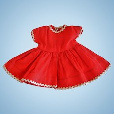"""Vintage Red Cotton 8"""" Doll Dress"""