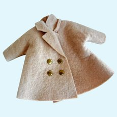 "Vintage Felt Double Breasted Coat for 8"" Doll"