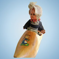 Vintage Dutch Celluloid Doll in Wooden Shoe