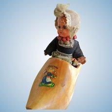 Vintage Dutch Celluloid Doll in Wooden Shoe