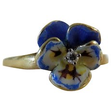 Antique Art Nouveau 14 K Enameled Pansy Ring with Diamond