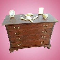 Vintage Wooden 4 Drawer Dresser with Celluloid Dresser set