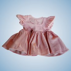Vintage Pink and White Gingham Doll Dress