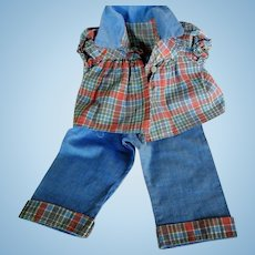 Vintage Cotton Plaid and Denim Doll Outfit