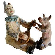 Antique Metal Clown and Pig Nodder