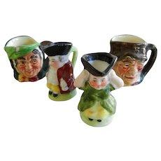 Four Vintage Miniature Toby Mugs