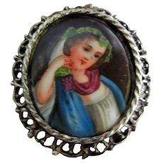 Vintage Hand Painted Porcelain Portrait Brooch