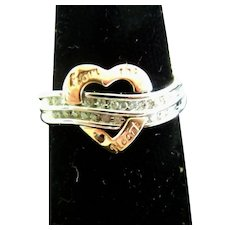 vintage 10 K Inscribed Heart Ring with Diamonds