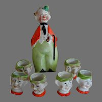 Vintage German Character Bottle and Cups