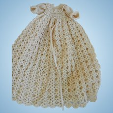 Vintage Crocheted Christening Gown for Bisque Doll