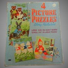 Set of 4 1954 Picture Puzzles in Original Box