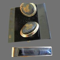 Vintage Masonic Tie Tack and Cuff Links
