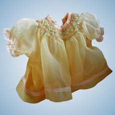 Vintage Yellow Sheer Smocked Doll Dress with Slip and Panties