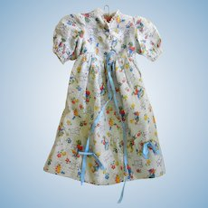 """Vintage Cotton Print gown for 17 -19 """" Bisque or Compo Doll"""