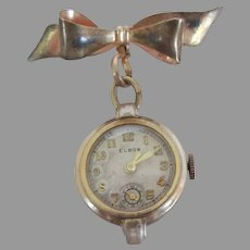 Vintage Gold Filled Watch Pin and Watch by Elbon