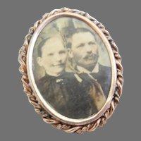 Vintage Civil War Gold Filled Photo Pin