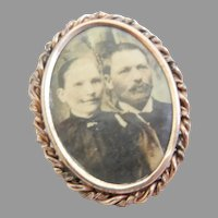Vintage Civil War Gold Filled Photo Pin