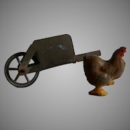 Vintage Miniature Cast Iron Chicken and Metal Wheel Barrow