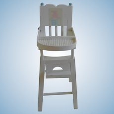 Vintage White Wooden Mid Century High Chair for Doll House