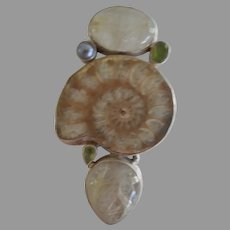 Vintage Pendant of Ammonite Fossil set in Sterling Silver