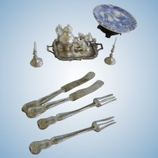 Vintage Miniature Oriental Charger and Metal Doll House Serving Pieces