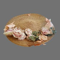 Antique Doll's Hat with Silk Flowers for Large Bisque Doll
