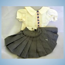 Vintage Cotton Pleated Skirt and Blouse for Hard Plastic Doll