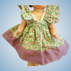 "Vintage Cotton Floral Print Dress for Vintage 8"" Doll"