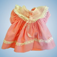 Vintage Pink Cotton Doll Dress for Compo or Hard Plastic Doll