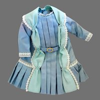 """Vintage Taffeta Doll Dress for 10 to 14"""" Bisque Head doll"""