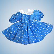 "Vintage Cotton Print Dress with Organdy Collar  for 13 - 15"" Hard Plastic Doll"