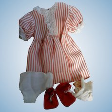 """Vintage Factory Striped Dress with Red Shoes and Socks for 19-20"""" Compo Doll"""