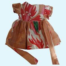 Vintage 40's to 50's Cotton Print Doll Dress, Teri Lee Size