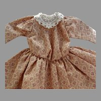 """Old Cotton Print Doll Dress with Embroidered Lace Collar for 14 -16"""" Bisque Head Doll"""