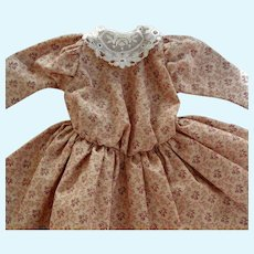 "Old Cotton Print Doll Dress with Embroidered Lace Collar for 14 -16"" Bisque Head Doll"