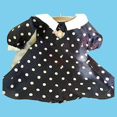"Vintage Navy Polka Dot Taffeta Coat for 20"" Hard Plastic Doll"