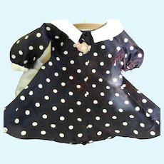 "Vintage Navy Polka Dot Taffeta Coat for 20"" Hard Plastic Doll"