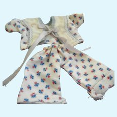 """Vintage Flannel Pajamas for Mid Century 8"""" Doll"""