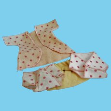 """Vintage Flannel Gown and Diapers for 8"""" Doll"""