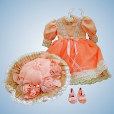 Artist Made Doll Dress Hat and Shoes for Bisque or Compo Baby Doll
