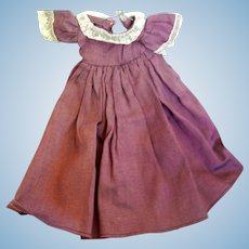 Vintage Heavy Cotton Doll Dress for 14 to 16 inch Bisque Doll