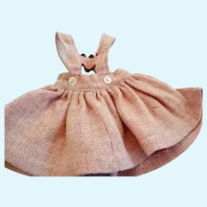 "Vintage Pink Wool Suspender Skirt for 9-12"" Compo or Hard Plastic Doll"
