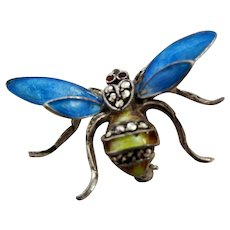 Sterling Silver Guilloche Enameled Bee Brooch Marked Germany