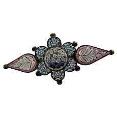Antique Italian Micro Mosaic Brooch,  Fabbrica Angelo Pessar